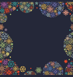 christmas frame colorful snowflakes in round vector image