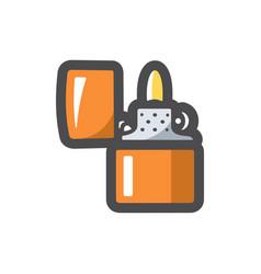 cigarette lighter fire icon cartoon vector image