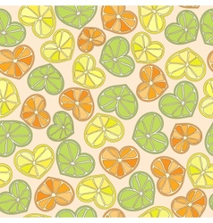 citrus hearts seamless pattern vector image