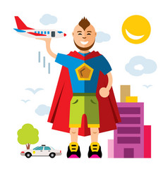 City superhero flat style colorful cartoon vector