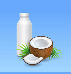 Coconut milk or yogurt and bottle design vector