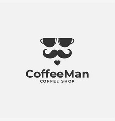Coffee logo with cup lover concept vector