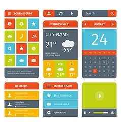 Colorful set of flat mobile app design and icons vector image