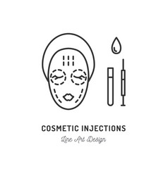cosmetic injections beauty injections thin line vector image