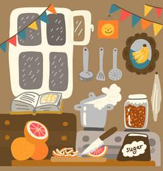 Cozy kitchen cuisine interior cooking frame food vector