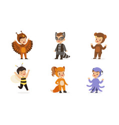 cute children in carnival costumes animals vector image