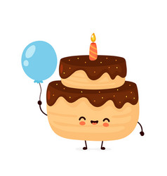 cute happy layered birthday party cake vector image