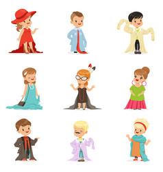 Cute little kids wearing elegant adult oversized vector