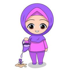 Cute muslim children - watering flowers fun daily vector