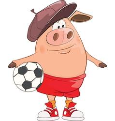 Cute Pig Footballer Cartoon vector