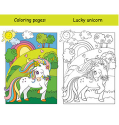 Cute unicorn on blooming meadow coloring book vector