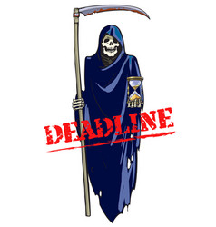 deadline concept cartoon death with scythe and vector image