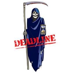 deadline concept cartoon death with scythe vector image