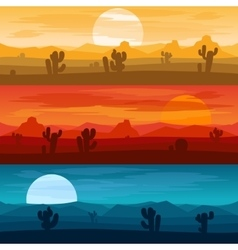 Desert mountains landscape days and at night vector