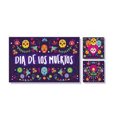 dia de los muertos set cards icons vector image
