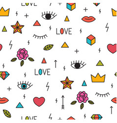 Doodle seamless pattern with eyes lips hearts vector