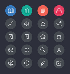 e-book reader line icons vector image
