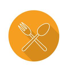 Eatery flat linear long shadow icon vector