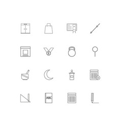 education and science linear thin icons set vector image