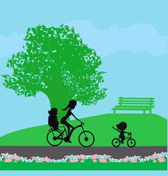 Family bike trip in park vector