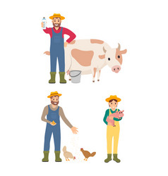 farmer with milk and cow set vector image