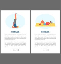 fitness exercises yoga and gym gymnastics set vector image