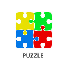 flat design square in for puzzle pieces icon vector image