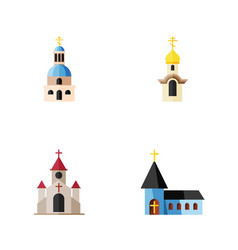 Flat icon church set of traditional church vector