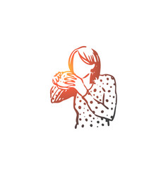 girl eating sandwich food nutrition concept vector image
