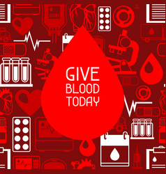 Give blood today background with blood donation vector
