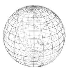 globe contour rendering of 3d vector image