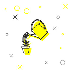 grey line watering can sprays water drops above vector image