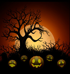 Halloween background with dry tree and pumpkins in vector
