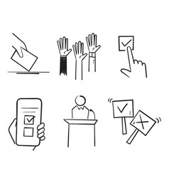 hand drawn doodle simple set voting related vector image