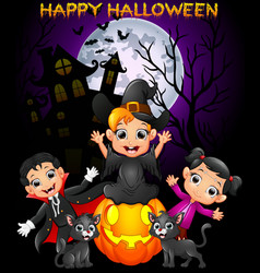 happy halloween purple background with children in vector image