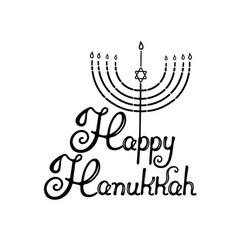 Happy hanukkah hand lettering menorah with the vector