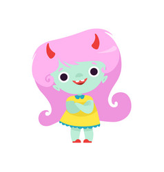 happy horned troll girl cute fantasy creature vector image