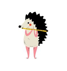 Hedgehog playing flute cute cartoon animal vector