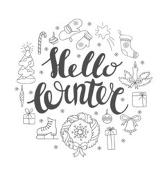Hello winter handlettering with christmas elements vector image