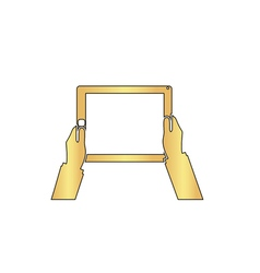 Hold Tablet computer symbol vector