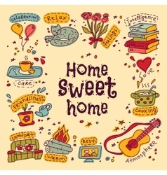 Housewarming sweet home greeting card vector