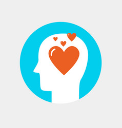human head with heart icon love concept flat style vector image