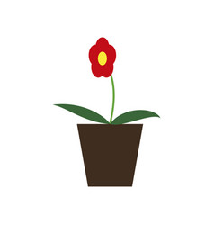 icon in flat design flower in a pot vector image