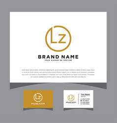 Initials lz logo with a business card vector