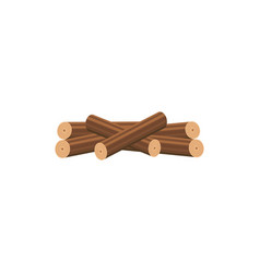 isolated stack firewood in neat stack drawn in vector image