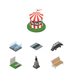 Isometric urban set of carousel fountain vector