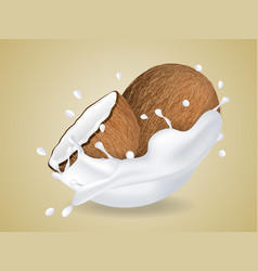 juicy sweet coconut in milk splash vector image
