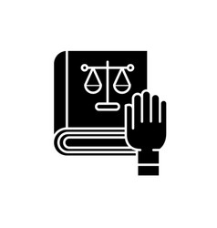 law and order black icon sign on isolated vector image