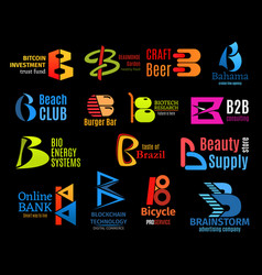 Letter b business identity icons vector