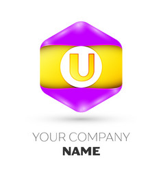 letter u logo symbol in colorful hexagonal vector image